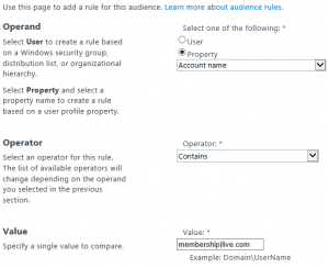 Audience rule for external users