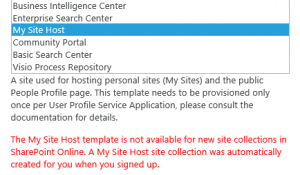 MySite Host Error