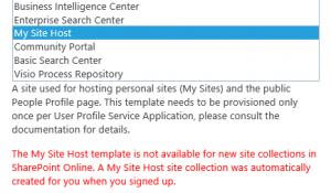 MySite Host Error