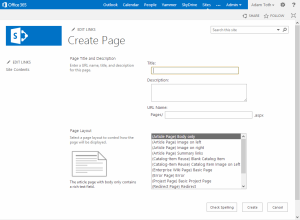 Create Page Dialog