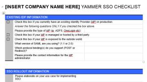 SSO Checklist