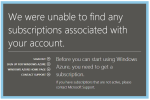No Azure Subscription